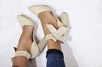 Женские Замшевые туфли с бантом бежевые на толстом каблуке Италия