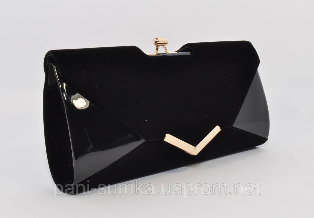 e099a318e96c Вечерний клатч черный велюр/лак, сумочка Rose Heart 002, расцветки -  Интернет магазин