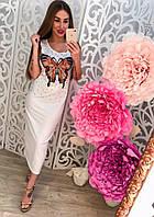 Распродажа летней коллекции Удлиненное платье с бисером и нашивкой Бабочка (серое, пудра, черное, белое)