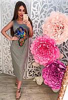 Распродажа летней коллекции Удлиненное платье сарафан с бисером и нашивкой Павлин (серое, белое, черное,пудра)