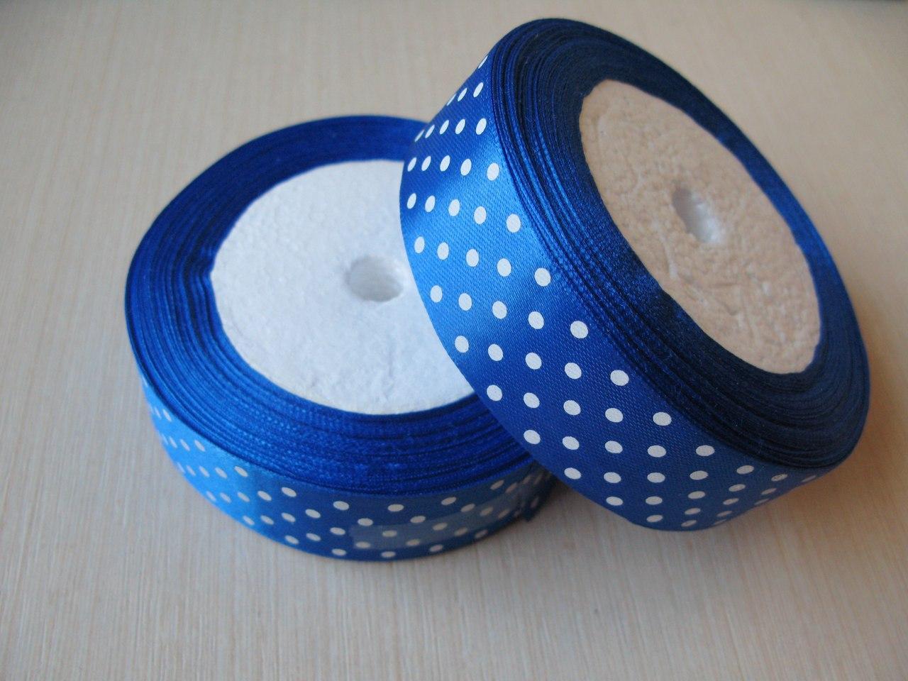 Лента в горох 2.5 см цвет - синий. Бобина 23 м.
