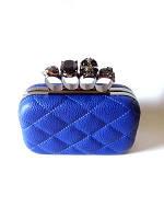 Клатч-кастет в жестком корпусе, синий в стиле Alexander McQueen