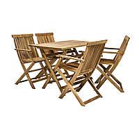 Обеденный комплект Finlay: стол и 4 стула с подлокотниками из массива акации, фото 1