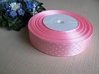 Лента в горох 2.5 см цвет - розовый. Бобина 45 м.