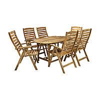Обеденный комплект Finlay: раскладной стол и 6 стульев с подлокотниками