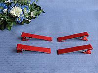 Металлическая заколка зажим с репсовой лентой.Цвет красный.  Длина 5.5  см