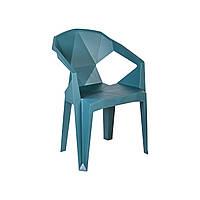 Пластиковий стілець з підлокітниками Muze синій, фото 1