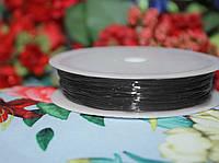 Эластичная силиконовая нить черная (0,8мм, 10м.)