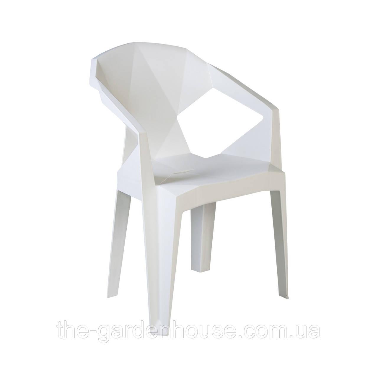 Пластиковый стул с подлокотниками Muze белый
