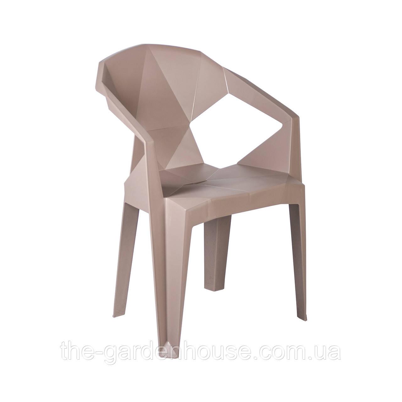 Пластиковый стул с подлокотниками Muze пурпурно-серый