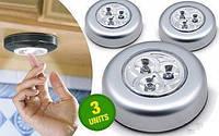 Светильники светодиодные stick-n-click, накладные, беспроводные, работают от батареек ааа, до 100 часов работы, фото 1