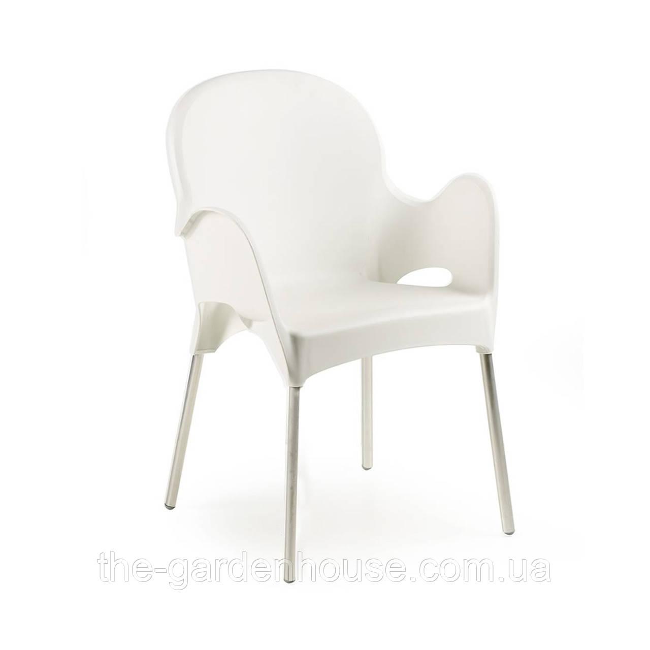 Пластиковый стул Atena с алюминиевыми ножками белый