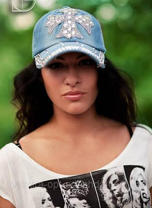 """Стильная женская джинсовая кепка """"Хром Хартс 2"""""""