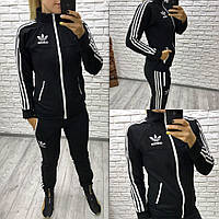 """Трикотажный спортивный костюм """"adidas"""" на тракторной змейке из серии """"ОН+ОНА"""", черный"""