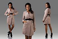 Осеннее кашемировое пальто с поясом для деловой леди