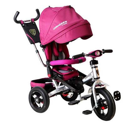 НАДУВНЫЕ КОЛЕСА Трехколесный велосипед-коляска Azimut Crosser T-400 малиновый