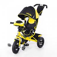 Детский трехколесный велосипед T-362 Camaro с фарой и надувными колесами, желтый