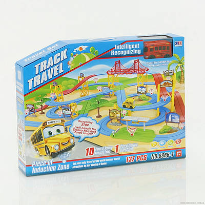 Автотрек 8866-1 (8) автобус на батарейке, свет фар, звук, в коробке