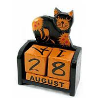 Календарь Кот настольный дерево