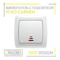 Выключатель одноклавишный с подсветкой VI-KO Carmen белый, фото 1