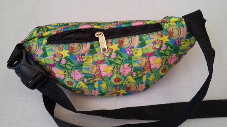 Поясная сумка молодежная желто-зеленого цвета, Смайлы, фото 2