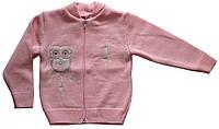 Теплая розовая кофта на молнии для девочки, рост 98 см, ТМ Фламинго