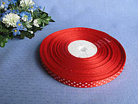 Атласная лента в горошек . Цвет красный.0.9 см. Бобина 54 грн - 45 метров