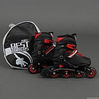 """Ролики 8901 """"S"""" Best Rollers цвет-ЧЁРНЫЙ /размер 31-34/ (6) колёса PU, без света, в сумке, d=6.4"""