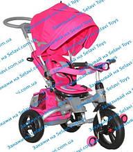 Трёхколёсный велосипед-коляска с ФАРОЙ и НАДУВНЫМИ КОЛЕСАМИ Transformer MODI Azimut T500 AL Air (6 в 1) розовый