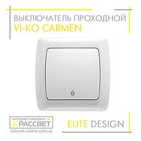 Выключатель одноклавишный VI-KO Carmen белый проходной, фото 1