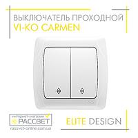 Выключатель двухклавишный VI-KO Carmen белый проходной