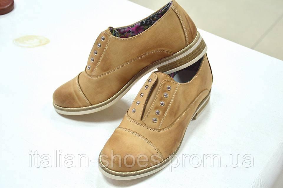 Женские итальянские кожаные рыжие туфли Jore -390