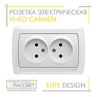 Розетка электрическая VI-KO Carmen двойная без заземления белая, фото 1