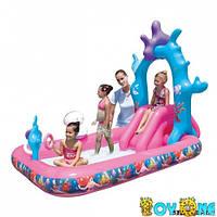 Детский надувной игровой центр - бассейн с горкой Русалочка Ариэль BestWay