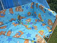 """Постельный набор в детскую кроватку (8 предметов) Premium """"Мишки с шариками"""" голубой"""