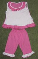 Летний костюм для девочек из жатки. Размер: 32-34