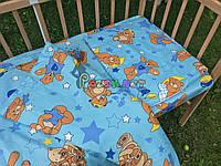 """Постельный набор в детскую кроватку (3 предмета) """"Мишки с шариками"""" Голубой , фото 1"""
