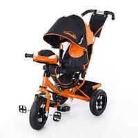 Детский трехколесный велосипед T-362 Camaro с фарой и надувными колесами, Оранжевый