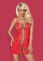Шикарный красный комплект Obsessive Bride chemise red, фото 1