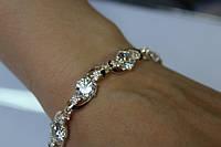 Серебряный браслет с золотыми накладками