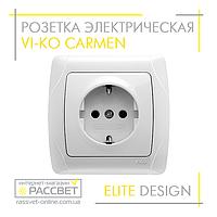 Розетка электрическая VI-KO Carmen одинарная с заземлением белая, фото 1