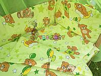 """Постельный набор в детскую кроватку (8 предметов) Premium """"Мишки с шариками"""" нежно-салатовый"""