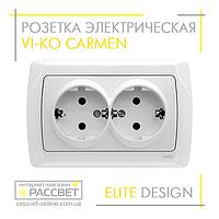 Розетка электрическая VI-KO Carmen двойная с заземлением белая