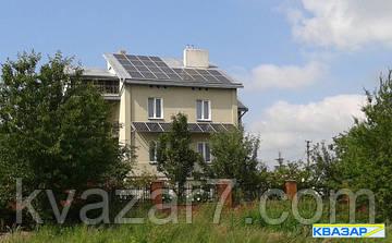 Сетевая крышно-фасадная солнечная электростанция мощностью 10 кВт