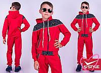 Спортивный костюм для мальчика подростковый  двойка кофта на молнии красный и синий с капюшоном
