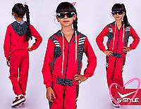 Спортивный костюм подростковый для девочки с капюшоном на молнии красный и розовый