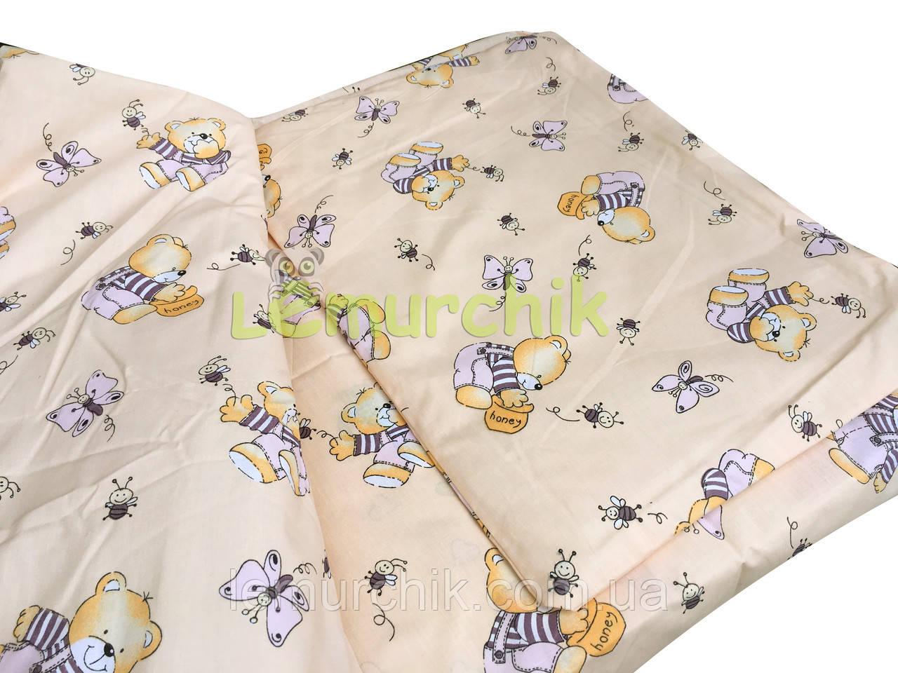 Постільний набір в дитячу ліжечко (3 предмета) Ведмедики з медом бежевий