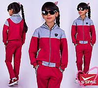 Спортивный костюм подростковый для девочки с капюшоном на молнии