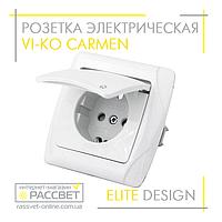 Розетка электрическая VI-KO Carmen одинарная с заземлением и крышкой белая, фото 1