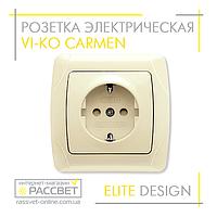 Розетка электрическая VI-KO Carmen одинарная с заземлением кремовая, фото 1